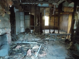 The kitchen gutted