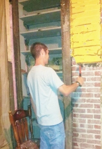 Chris uncovered another beautiful brick chimney! We plan on cleaning this up and keeping it exposed.
