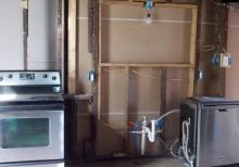 Kitchen Pass-thru light and water lines